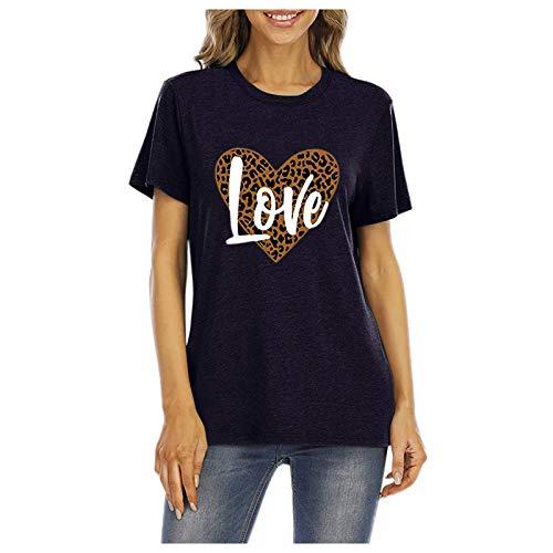 L9WEI - Camiseta de verano de gran tamaño con estampado de corazón y leopardo, para mujer, cuello redondo, manga corta, informal, elegante