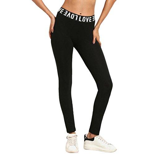 Schwarz Yoga Hose Damen, Manadlian Mode Frauen Leggings lang Sport Yoga Hose Stretch Workout (S, Schwarz)