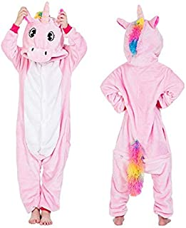 Pijama Unicornio Niños Kigurumi Onesie Unicornio Pijamas for niños Manta Animal de la Historieta del Traje de bebé durmientes Invierno Niño Niña Licorne Jumspuit (Color : S, Size : 10T)