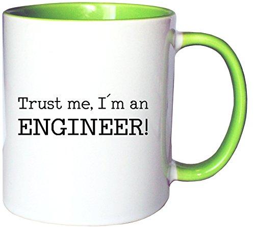 Mister Merchandise Kaffeetasse Becher Trust me, I´m an Engineer! Ingenieur, Farbe: Weiß-Grün