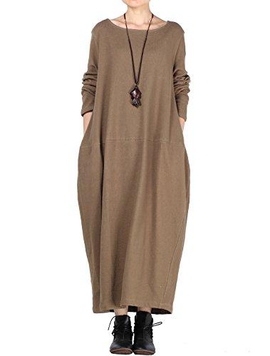 Mordenmiss Women's Knit Sweater Dress Long Sleeve Baggy Shift Pullovers (L,Light Coffee)