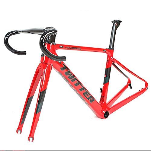 LJHBC Marco de Bicicleta Conjunto de cuadro de carretera de fibra de carbono Ligero Cuadro de carreras de carretera de escalada de colinas 700C Con horquilla + tubo de sillín Manillar integrado de fib