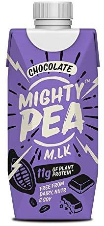 Mighty Pea Chocolate – 100% Vegan Chocolate Drink, Dairy Free, Pea Plant Milk, High Protein (330ml x 12 Cartons)