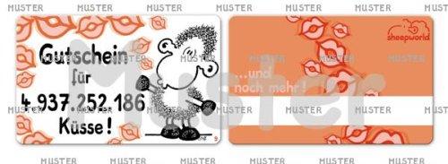 Sheepworld Pocketcard Nr. 9, Gutschein für 4.937.252.186 Küsse!