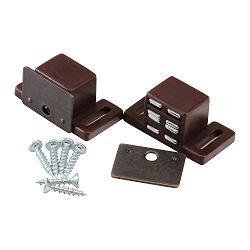 Rok Hardware Heavy Duty 15 lb High Rise Cabinet Magnetic Catch, Brown/Nickel Cabinet Door Magnet, Brown (2 Pack)
