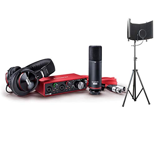 Focusrite Scarlett 2i2 USB Audio Recording Interface Studio Pack 2nd Gen Complete Recording Packages with Headphones, Microphone, Recording Software and Microphone Isolation Shield With Stand