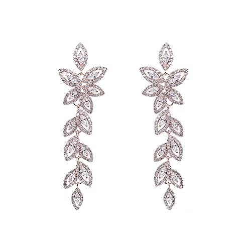 Afrodeti Magníficos pendientes de oro rosa de cristal