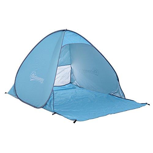 Outsunny Abri de Plage Tente de Plage Pliable Pop-up Automatique instantané Protection UV fenêtre arrière Grand Tapis de Sol Bleu Ciel