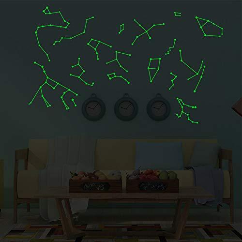 Sxgyubt - Adesivo da parete fluorescente con dodici costellazioni, decorazione da soffitto per camera da letto e bambini One 20 x 30 cm.