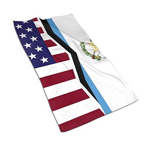 BigHappyShop - Toalla de baño de microfibra súper suave con bandera de Estados Unidos y Guatemala, absorbente y multiusos de 27,5 x 39,7 cm