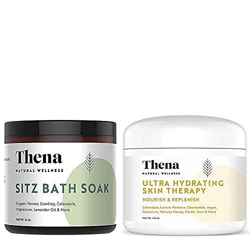 THENA Healing Cream For Eczema Psoriasis Dry Skin and Organic Sitz Bath Soak Bundle