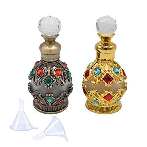 Liwein Botellas de Perfume Vintage,15ml Vacías Recargable Perfume de Vidrio Botella Cristal Antiguas Botella de Aceite Esencial con Embudo Regalo para Mujer 2 Pieza