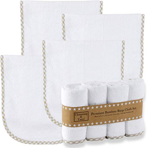 Premium Organic Bamboo Baby Burp Cloths Boy or Girl (4-Pack) by Channing & Yates - Large Face Washcloths - Baby Burp Cloths for Eczema - Thick & Soft - 22 x 11in - Boutique Baby Must Haves (Beige)