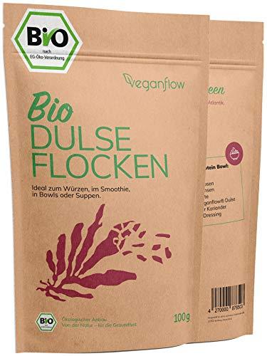 veganflow® Dulse Flocken Bio aus dem Atlantik, laborgeprüft, Rotalgen für Smoothies oder als Trocken-Gemüse