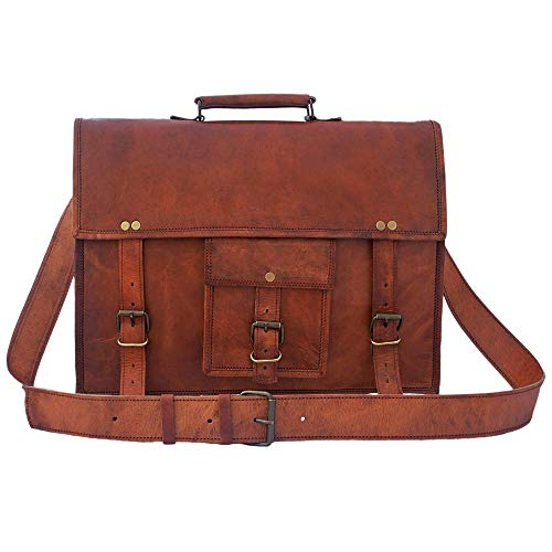 15 inch Genuine Leather Messenger Bag - Crossbody...