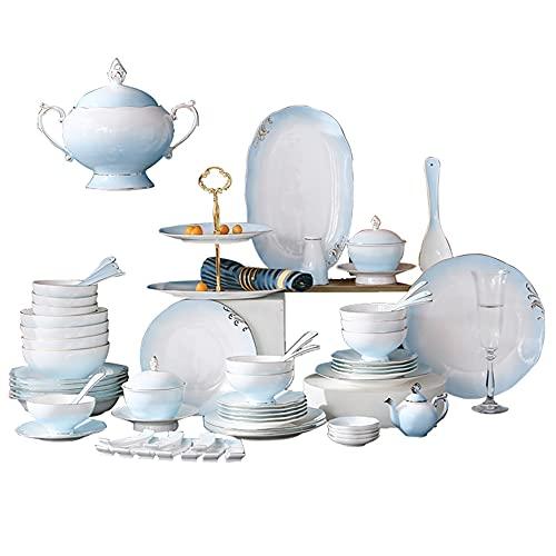 HGFDSA Juego De Vajilla De Porcelana De Hueso De Lujo (Servicio para 8/10 Personas), Juegos De Platos Y Cuencos De Porcelana, Juego De Porcelana Elegante con Adornos Dorados,48Pcs