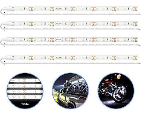 Pryeu Daylight White 6000K LED Strip Lights 12V Waterproof for Auto Car Truck Boat Motorcycle Interior Lighting 12'' 30CM 2835 SMD UL Listed Pack of 4