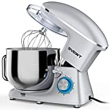 Stand Mixer, 8.5 QT 660W 6 Speed Tilt-Head Food Dough Mixer, Electric Kitchen Mixer with Dough Hook, Wire Whip and Beater Attachments for Family Gathering, Silver…