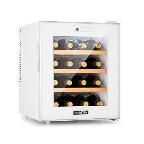 Karstein Reserva 16 - Refrigerador de vino, Vinoteca, Nevera para bebidas, Frente de vidrio, Marco de acero inoxidable, LED, Eficiencia B, 34 dB, 1 zona, 11-18 °C, 16 botellas, 48 L, Blanco floral