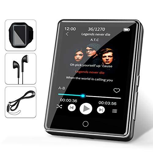 """32G MP3 Player JBHOO 2.8\"""" MP3 Bluetooth 5.0, MP3 mit Lautsprecher, FM Radio, Schrittzähler, Aufzeichnung, Voller Touchscreen Unterstützt bis zu 128 GB (Lanyard, Sportarmband Inklusive)"""
