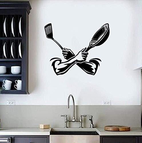 Pegatinas de pared calcomanías papel tapiz cocina espátula puertas y ventanas cocina comedor creativo vinilo arte comedor decoración del hogar 42X52 cm