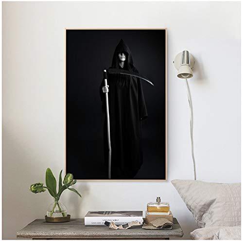 ASLKUYT Grim Reaper Paintings Dekorative Home Nordic Canvas HD Prints Modern Kunst für Living Room Wall Art Poster-50 x 80 cm ohne Rahmen