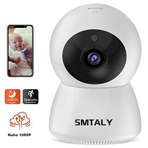1080P Cámara IP WiFi,Cámara de Vigilancia FHD con Visión Nocturna,Cámara de Mascota/Bebé,Detección de Movimiento,Audio de 2 Vías, 2.4GHz, Compatible con iOS/Android, SMTALY Blanco C1