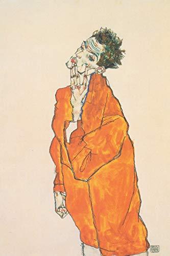 Art Journal: Egon Schiele - Selbstbildnis in oranger Jacke 1913 Cover| Premium College Ruled Journal | Premium Notebook | 120 Pages