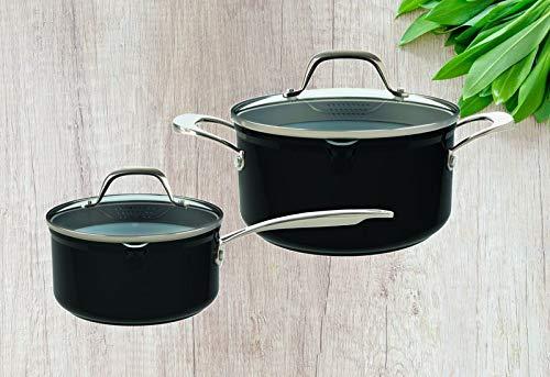 Laguiole - Batería de cocina (4 piezas, con tapa de cristal, aluminio fundido, cacerola de 18 cm, apta para inducción), color negro
