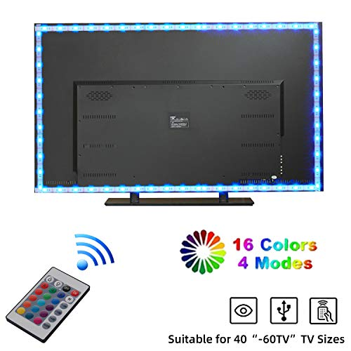 Yizhet LED TV Hintergrundbeleuchtung 2m RGB 5050 LED Streifen LED Fernseher Beleuchtung USB mit 24-Key Fernbedienung für 40 bis 60 Zoll HDTV, TV-Bildschirm und PC-Monitor (Weiß FPCB)