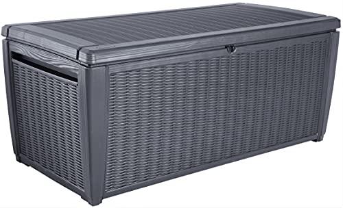 Keter Sumatra Auflagenbox, Kissenbox für draußen, 511 L, wetterfest, grau, Deckel mit Gasdruckfeder, Außenmaße:145x73x64 cm, Sitzgelegenheit für 2 Personen