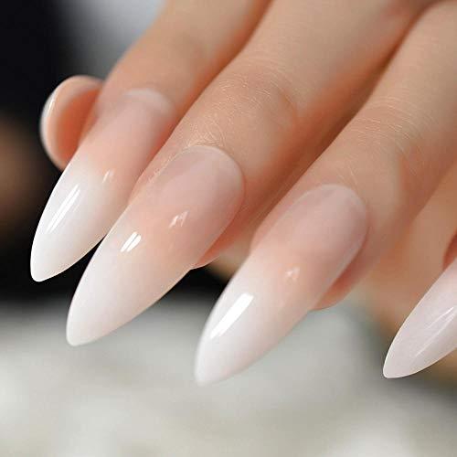 TJJF Extra Long Français Nail Extreme Stiletto Sharp Gradient Solide Couleur Blanc 24 Faux Ongles Acrylique Ongles Conseils De Manucure En Gros