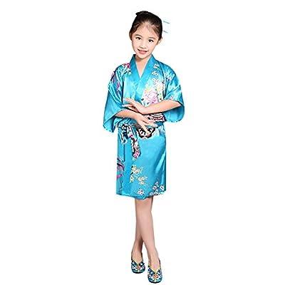 Goodkids Girl' Satin Kimono Short Sleeve Bathrobe Silk Middle Sleeve Flower Loose Nightwear for Spa Wedding Party Birthday