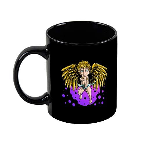 Taza de café con diseño de ángeles con arcos de flechas, color negro, taza de café – el mejor regalo para un amigo, taza de cerámica de 11 onzas