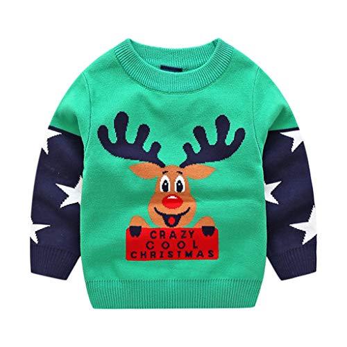 Bambini Natale Maglione Inverno Pullover A Maglia Manica Lunga Retro Cervo Outfits 3-4 Anni