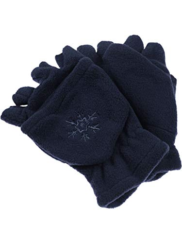 Fiebig Mädchen Jungen Halbfinger Handschuh mit Klappe in Fleece für Kinder!, Farben:marine, Handschuhgröße:4