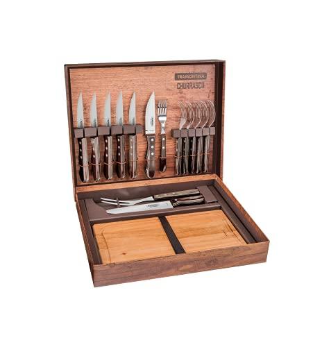 Tramontina Churrasco Juego de barbacoa Jumbo de 15 piezas, juego de barbacoa, cubiertos de carne, tabla de cortar, color marrón