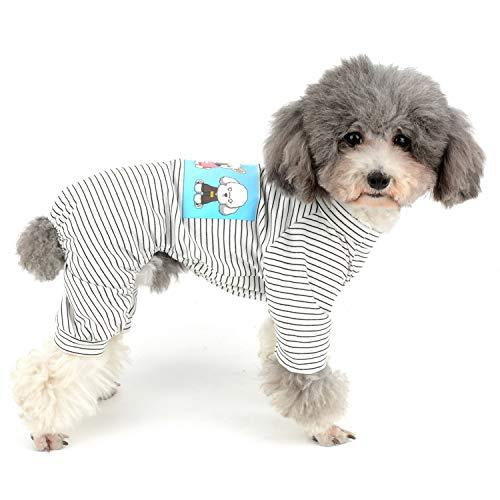 ZUNEA ペット 犬服 パジャマ つなぎ 綿製 Tシャツ 小型犬用 ボーダー柄 ドッグウエア 春 夏 秋 おしゃれ かわいい ロンパース 柔らかい 部屋着 寝間着 猫服 お散歩 お出かけ ブラック L