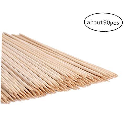 JRXyDfxn 90pcs Bambusspiesse Sticks Naturgrillspieße Eibisch-Röstung Sticks Thick extralange Heavy Duty Bambus Eibisch-Röstung Sticks