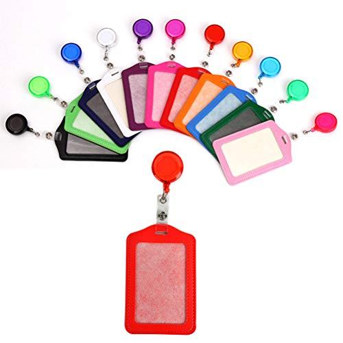 FOROREH Tarjetero Multicolor, Insignia Retráctil, Tarjetero de Cuero para Credencial de Identificación con Clip, Perfecto para Licencia de Conducir, Tarjeta Vital -10 Piezas Verticales