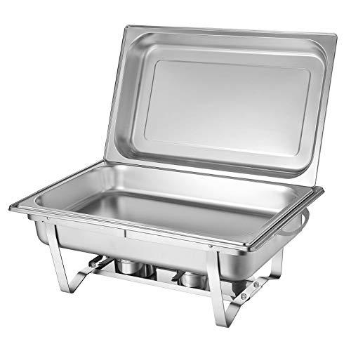 MOMOJA Chafing Dish Chauffe-Plat Rectangulaire en Acier INOX pour Buffet d'hotêl (9L)