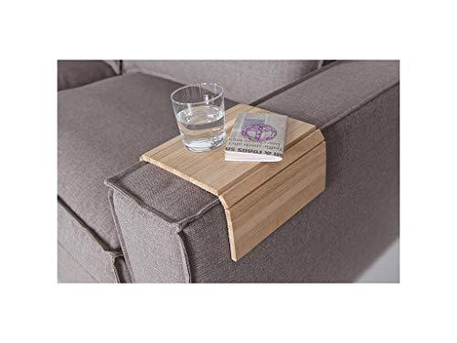 Sofatablett/Ablage Eiche Natur in Größe 44 x 24cm / Armlehnenschoner für Couch, Abstellplatz für Snacks und Getränke auf der Sofa Armlehne, flexibel in der Breite