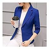 QWERBAM Black Women Blazer Formal Blazers Lady Office Work Suit Pockets Jackets Coat Slim Black Women Blazer Femme Jackets (Color : Blue, Size : Large)