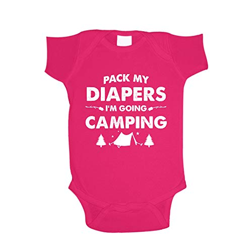 The Shirt Den Pack My Diapers I'm Going Camping Baby One Piece 6 mo Cyber Pink