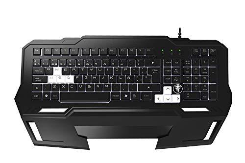 Oferta de Mars Gaming MKHA1 - Teclado gaming para PC (respuesta ultra-rápida, iluminación LED blanca, anti-ghosting, teposamuñecas extraíbles, teclas elevadas y extraíbles, base metálica, USB oro), color negro