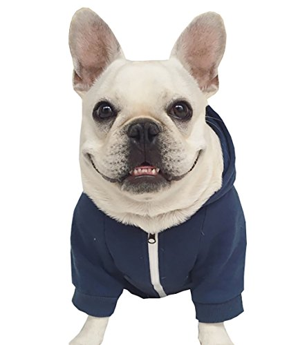 Moolecole Zip-up Hoodie Pet Costume Dog Hoodies Clothes Outfit Funny Pet Hooded Apperal for French Bulldog and Pug Dark Blue 2XL