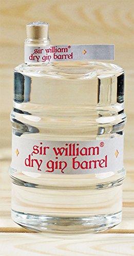 Geschenkset Sir William Dry Gin im Glasfass (350 ml, 37,5%vol.), in hochwertiger schwarzer Röhre mit Metalldeckel