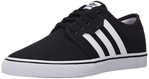 adidas Mens Seeley Core Black Footwear White Canvas Trainers 44 EU