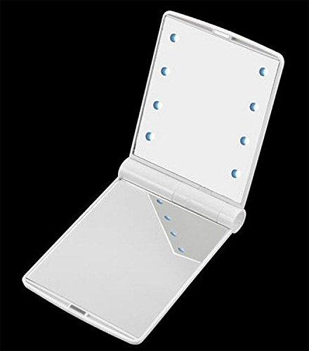 Petit miroir de poche pliant de maquillage, miroir de poche de rasage, 8 LED pour femme
