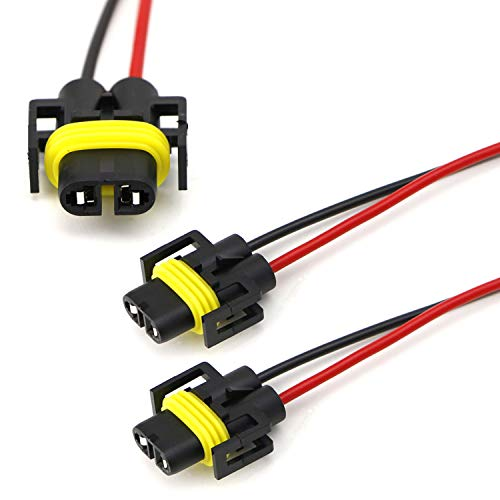 iJDMTOY (2) H11 H8 880 881 Female Adapter Wiring Harness Sockets Wire Compatible With Headlights or Fog Lights